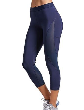 480932f51ff4d SYROKAN Women's Slimming Mesh Training Capri Leggings Sports Cropped Tights  at Amazon Women's Clothing store: