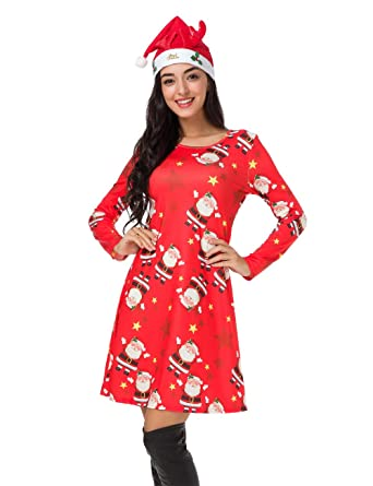 hot products buy online half off Womens Christmas Dress Long Sleeve Pullover Swing Flared Cocktail Party  Dresses A Line Xmas Midi Dress