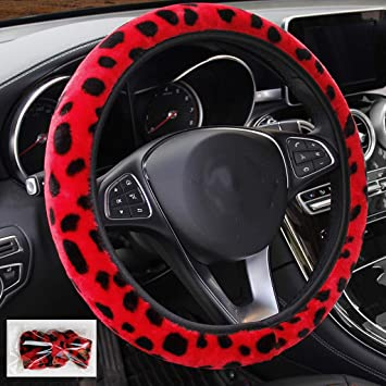Car Steering Wheel Cover for Women Animal Pattern Fur Plush Universal 17 inch Warm Winter Steering Wheel Cover