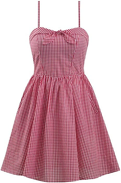 29f895c65a90 Double Trouble Apparel Retro Inspired Gingham Swing Dress in Red & White