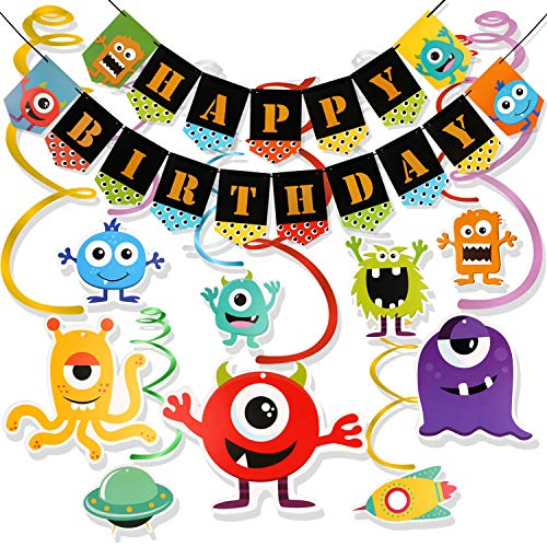 Konsait Monster Bash Birthday Party Decorations, Monster Hanging Swirl Decoration and Happy Birthday Banner for Boys Girls Kids Birthday Party Supplies