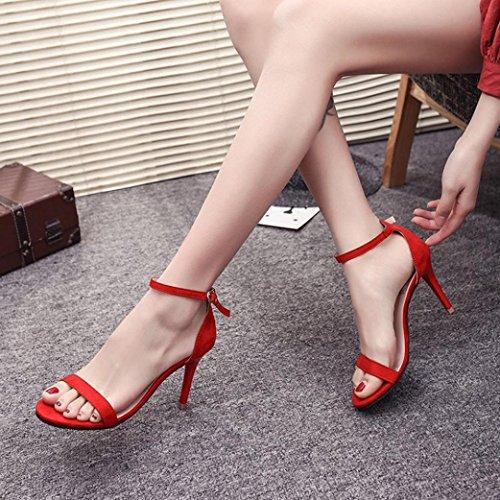 Rouge Pure Chaussures Talon Bovake Mode Couleur Femme Toe Sandales Party Open Haut 4q6B7fPw