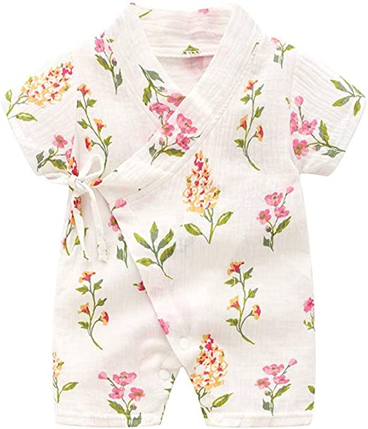Newborn Baby Girl Clothes Children Kids Baby Short Sleeves Lace Flower Print Romper Jumpsuit Lucoo Baby Girl Romper