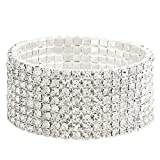 Falari Rhinestone Crystal Stretch Bracelet Sparkle Wedding Bridal