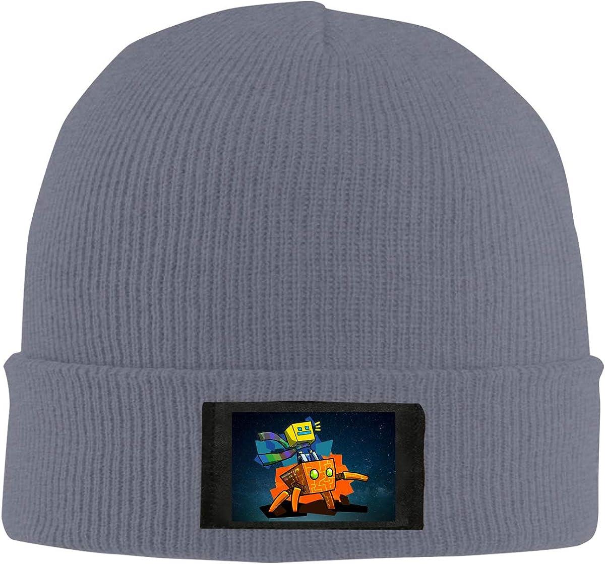 Ge-om-etry Gam Da-sh Unisex Knitted Cuffed Hats Winter Warm Stretch Beanie Solid Color Soft Black