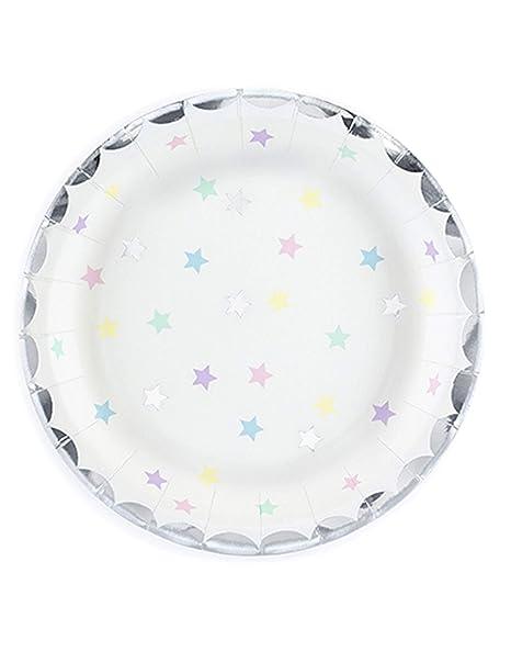 Pretty plateado pastel platos de papel Star - Lote de 6 ...