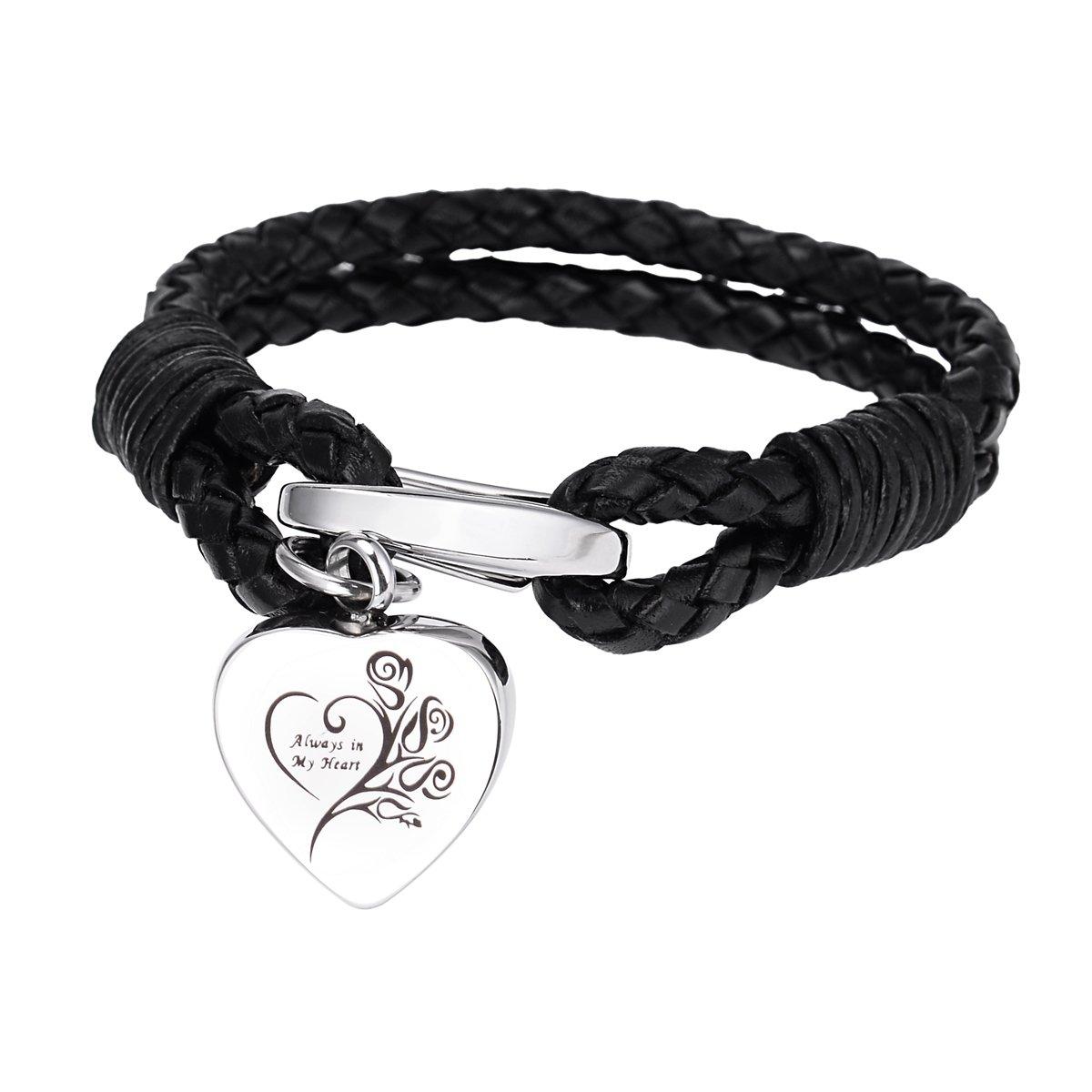 Always in my heart Heart Cremation Bracelet Memorial PU Leather Bracelet Keepsake Jewelry BY B00YE0A19W