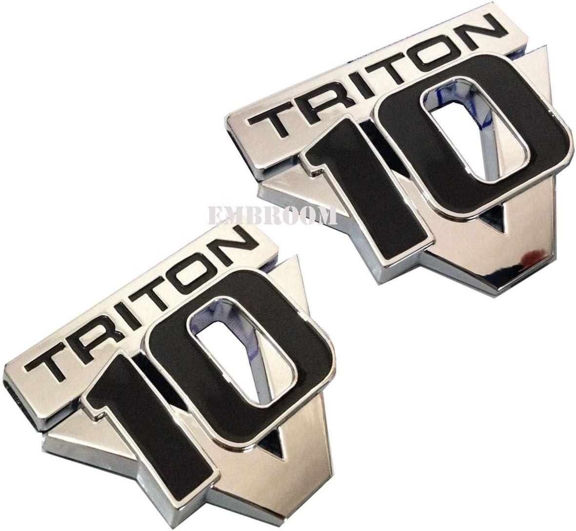 2pcs V10 Triton Emblems, Decals Stickers Replacement Emblem for Ford F Series Trucks (Chrome Black)