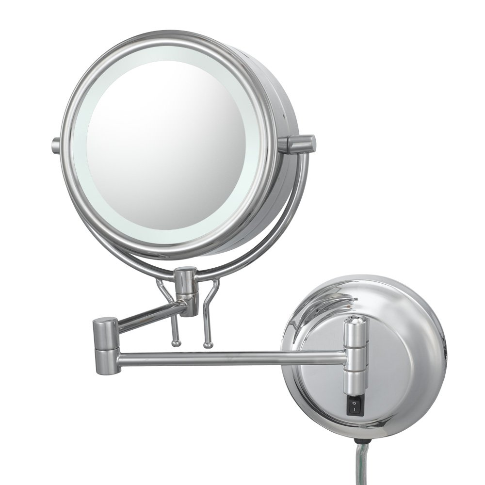 Kimball and Young 91445 Double-Sided Contemporary Wall Mirror Plug-In, 1X and 5X Magnification, Chrome
