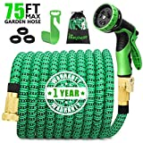 75ft Expandable Garden Water Hose, Garden Hose with 3/4 inch Strong Solid Brass & 9 Function Nozzle , Expandable Hoses No-kink Leaking Flexible Lightweight Gardening Hose Yard Hoses (2019 Upgraded)