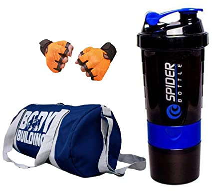 SNIPPER Combo of Bodybuilding Blue Bag, Gloves Orange and Spider Shaker  Purple Gym   Fitness e8d184c4a3