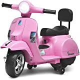 Costzon Kids Vespa Scooter, 6V Battery Powered Ride on Motorcycle w/ Training Wheels, Music & Horn, LED Lights, Forward…