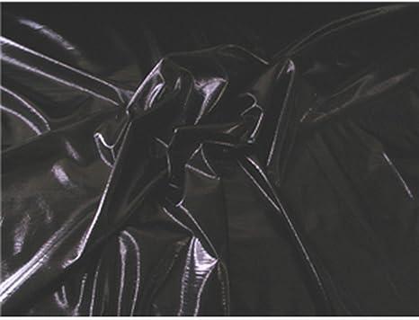 COSTUME GYMNASTICS POWER MESH STRETCH FABRIC BLACK FOIL BY THE YARD DANCE