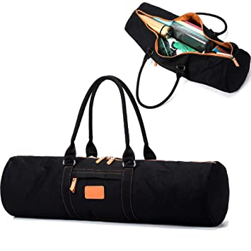 FODOKO Yoga Mat Bag Large Canvas Yoga Mat Tote Gym Duffle Bag Sling Carrier with Zippers and Pockets