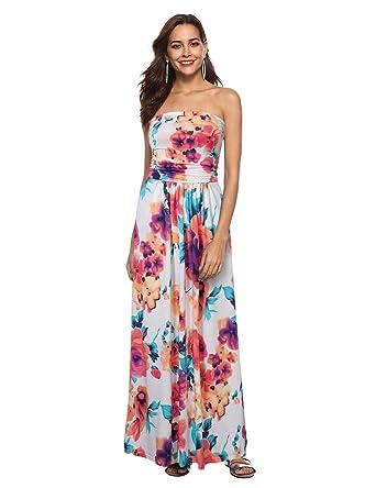 e0e6d917bf Liebeye Women Floral Sleeveless Empire Waist Strapless Beach Maxi Dress  Colorful S