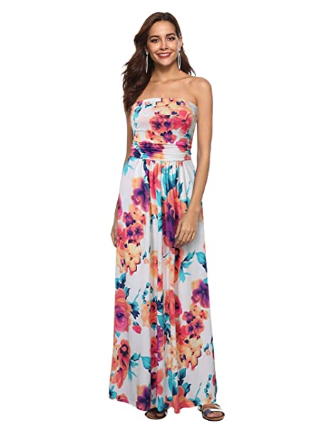 c3ef408c18925 Liebeye Women Floral Sleeveless Empire Waist Strapless Beach Maxi Dress  Colorful S