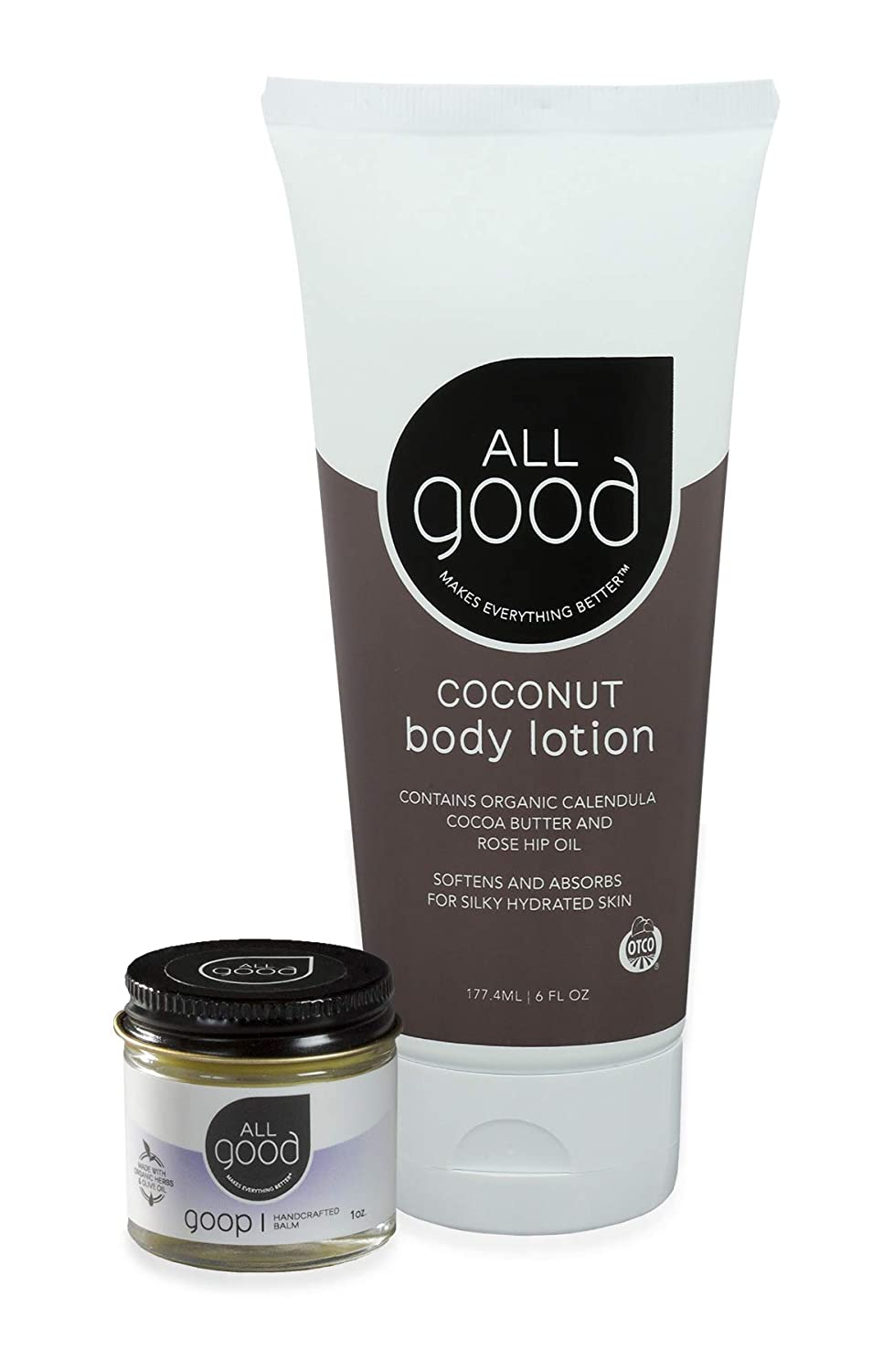 All Good Hand & Skin Relief Combo Set - Moisturize Dry Cracked Skin - Organic Handcrafted Balm & Coconut Lotion