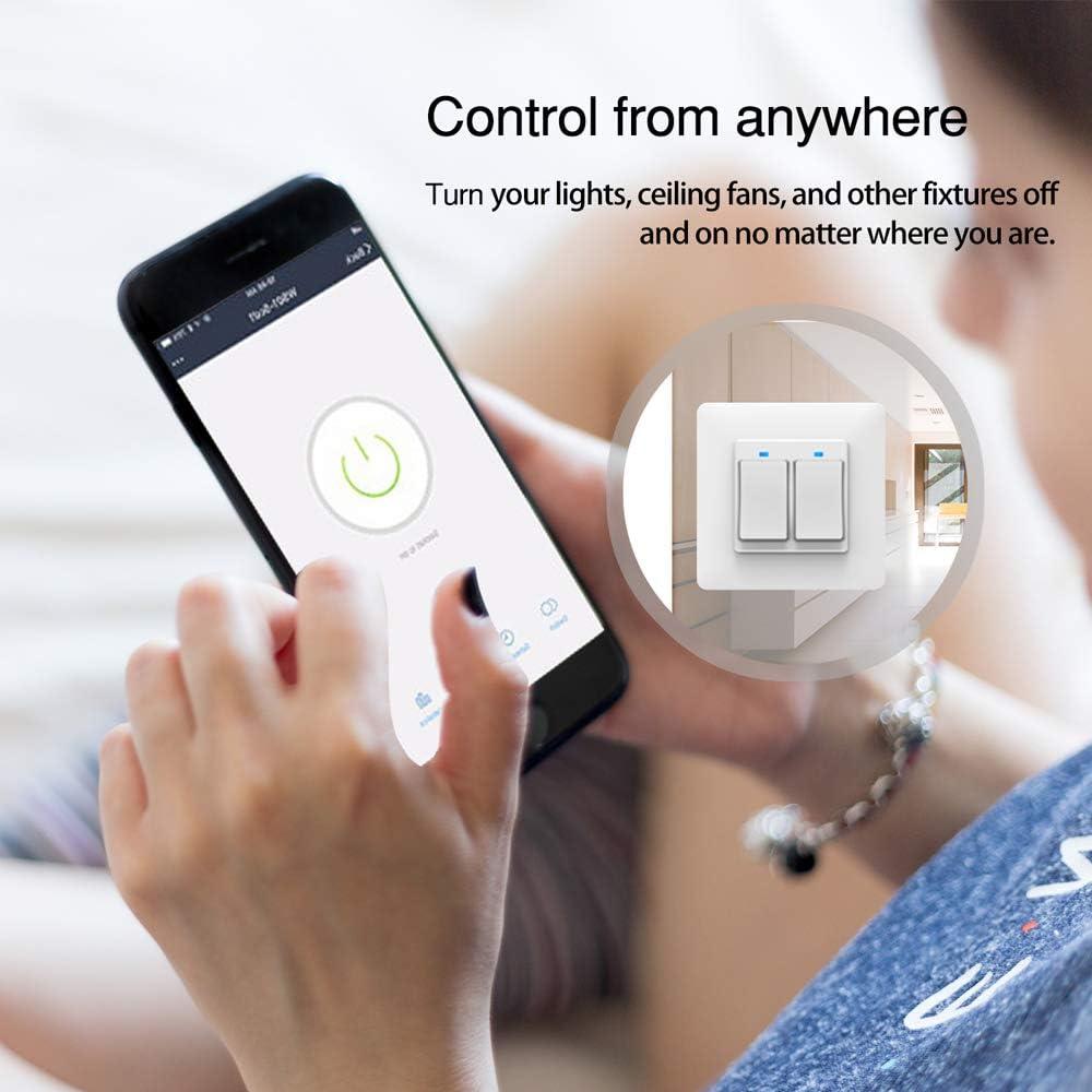 2 Pandilla WIFI Interruptor de la luz de la Pared Interruptor de Panel de Control Remoto Trabaja con  Alexa//Asistente de Google Funci/ón de Sincronizaci/ón ALLOMN Inteligente Cambiar