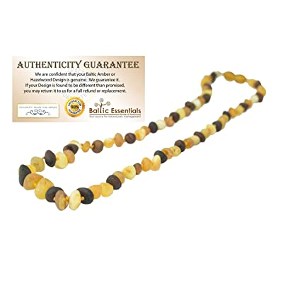 "Baltic Amber Necklace Raw Multi 12.5"" Authenticy Certificate All Natural 100% Safe (Multi) : Baby"
