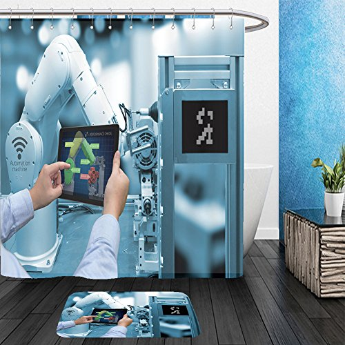 Vanfan Bathroom 2 Suits 1 Shower Curtains & 1 Floor Mats industry concept man hand holding tablet with performance check screen software and blue tone 485736517 From Bath (Target Halloween Hand Towels)