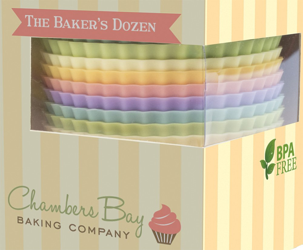Silicone Baking Cups/13 Reusable Nonstick Cupcake Liners/Premium Muffin Molds - Stand Alone Cupcake Holders - No BPA - Gift Set - 6 Designer Colors - Standard Size by Chambers Bay Baking Company