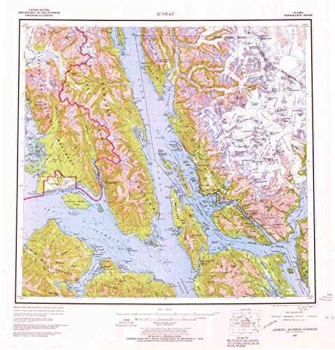 YellowMaps Juneau AK topo map, 1:250000 Scale, 1 X 2 Degree, Historical, 1962, Updated 1966, 22.7 x 21.8 in - Polypropylene -