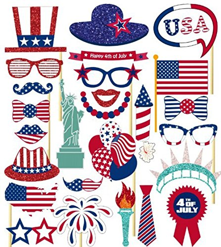 Fourth Of July Photo Booth Props Patriotic Photo Booth Props Indepedence Day Fun Silly Decorations American Celebrations Party Supplies Red White Blue Props American Inspired Photo Booth Props -