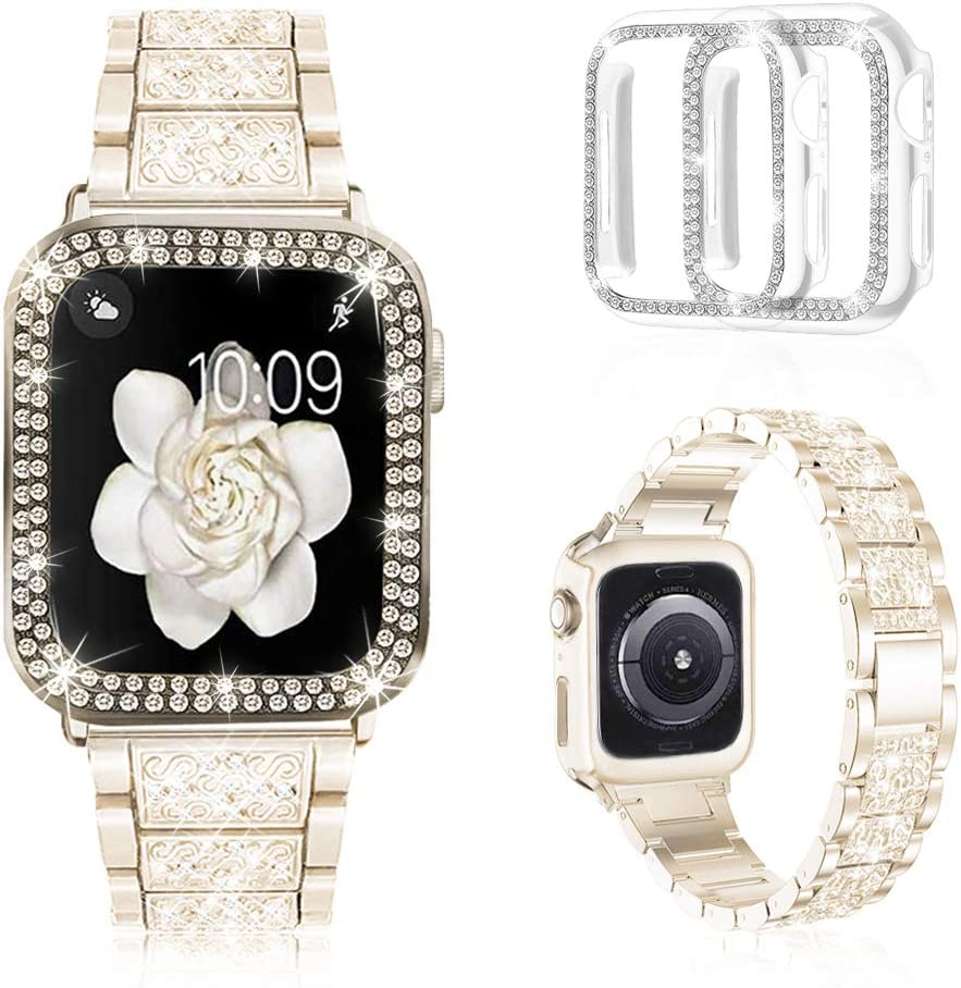 Mosonio Compatible with Apple Watch Band 44mm with Case Women, Jewelry Replacement Metal Wristband Strap with 2 Pack Bling PC Protective Cover for iWatch Series 6/5/4(Champagne)
