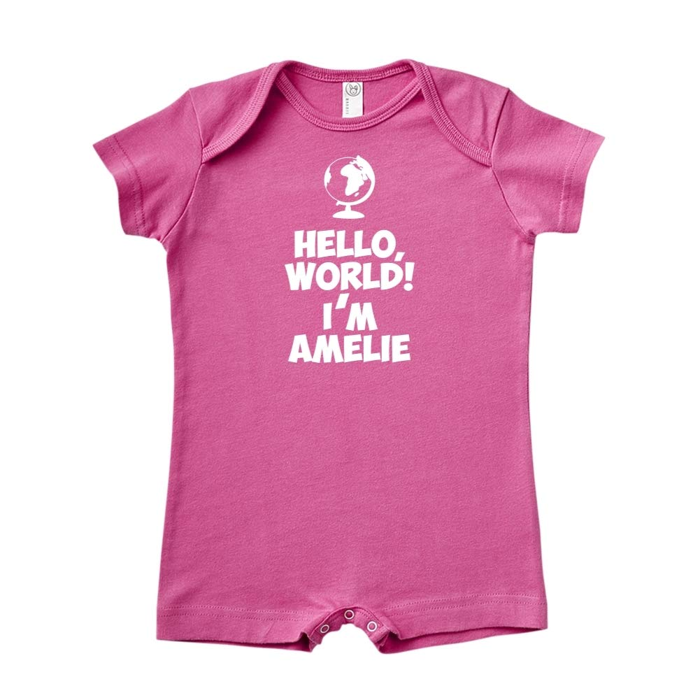 Im Amelie Mashed Clothing Hello World Personalized Name Baby Romper