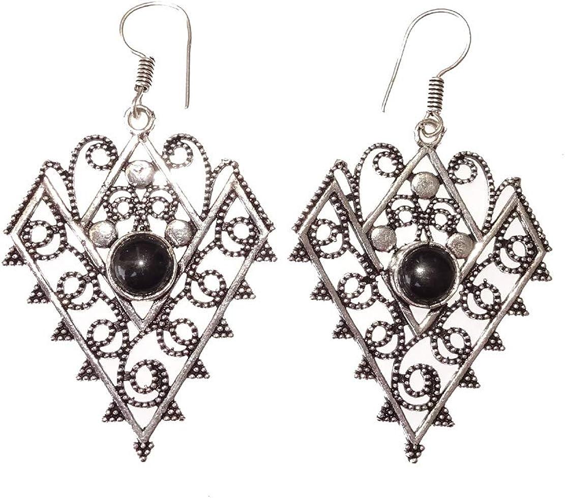 Pendientes étnicos tribales elegantes para mujeres niñas hechos a mano genuino negro piedra preciosa ónix plateado plata oxidada cuelga pendientes colgantes por India Jewel Store