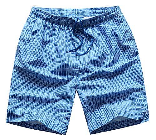 MADHERO Men Swim Trunk Quick Dry Bathing Suit Mesh Lining Plaid Blue Size -