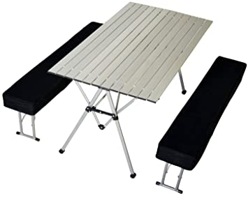 Connex Warenhandel Camping Table Pliante Avec 2 Bancs Aluminium
