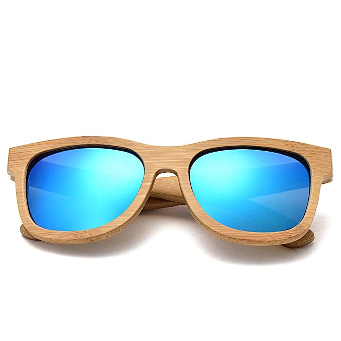 e28e010c92 VOBOOM® Bamboo Wood Polarized Sunglasses For Men   Women -Temple Carved  Collection (01 Bamboo Frame Blue Lenses)  Amazon.co.uk  Clothing