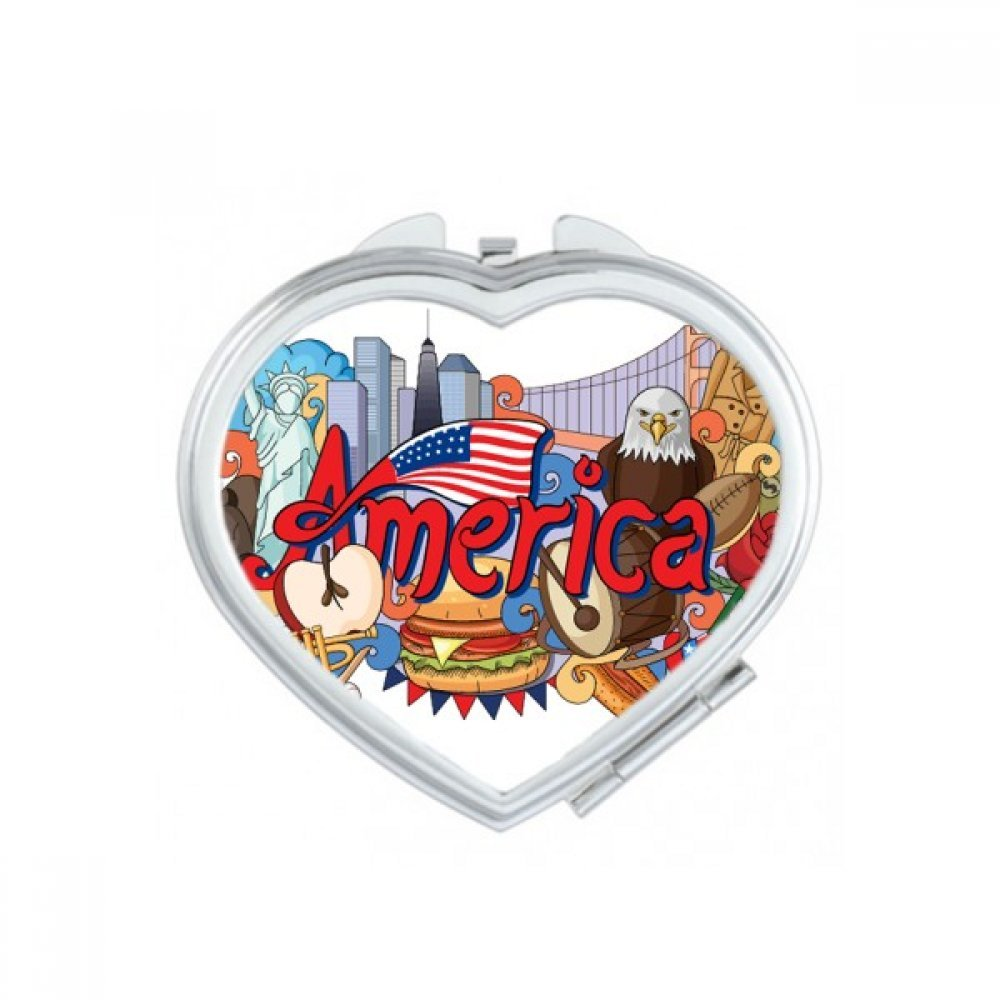 Eagle Liberty Burger America Graffiti Heart Compact Makeup Pocket Mirror Portable Cute Small Hand Mirrors Gift