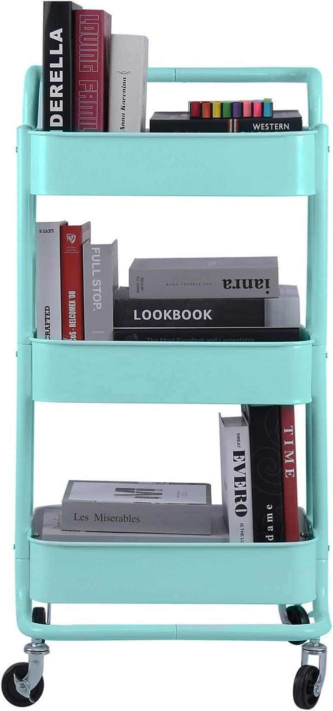 3-Tier Metal Mesh Rolling Cart Storage Organizer with Utility Handle and Wheels, Turquoise