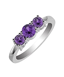 1.40ctw,Genuine Amethyst 5x5mm Round & Solid .925 Sterling Silver Ring (Size-7)