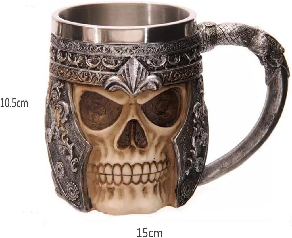 AOI Tazza da caff/è 3D a Forma di Teschio Boccali da Birra a Forma di Teschio Boccale in Acciaio Inossidabile a Forma di Scheletro capacit/à 15 x 10,5 cm 301-400 ml