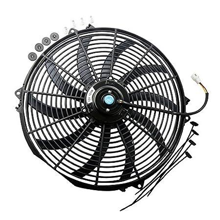 MOSTPLUS Black Universal Electric Radiator Slim Fan Push//Pull 12V Mounting Kit 16 Inch