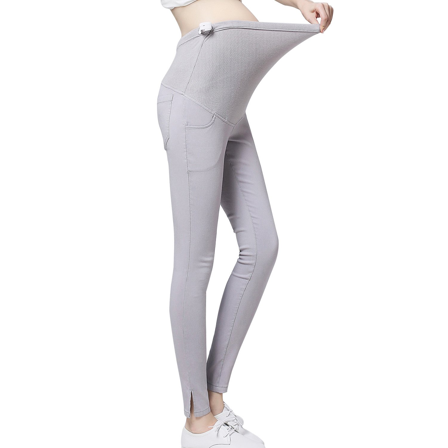 JOYNCLEON Pregnant Women Work Pants Stretchy Maternity Skinny Ankle Trousers Slim for Women (Label XL = US 10-12 fit for Hip 36.6'', Light Grey)