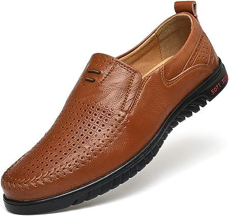 SHENMINJ Calzado Casual Transpirable Hueco para Hombre,Zapatos de Guisantes Zapatos Perezosos de un pie. Estilo Europeo y Americano Piel Genuina Moda Mocasines