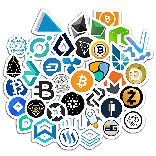 Crypto Stickers for Laptop Cell Phones Smartphones Cases Water Bottles Computers Tablets Luggage Office Walls Cars Assorted Decals for Men Teens Adults Cryptocurrency Wallet Gift Set Coins Pack 40 pcs