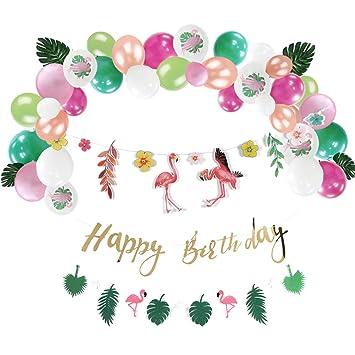 Flamingo Cumpleaños Decoración Conjunto Tropical Hojas ...