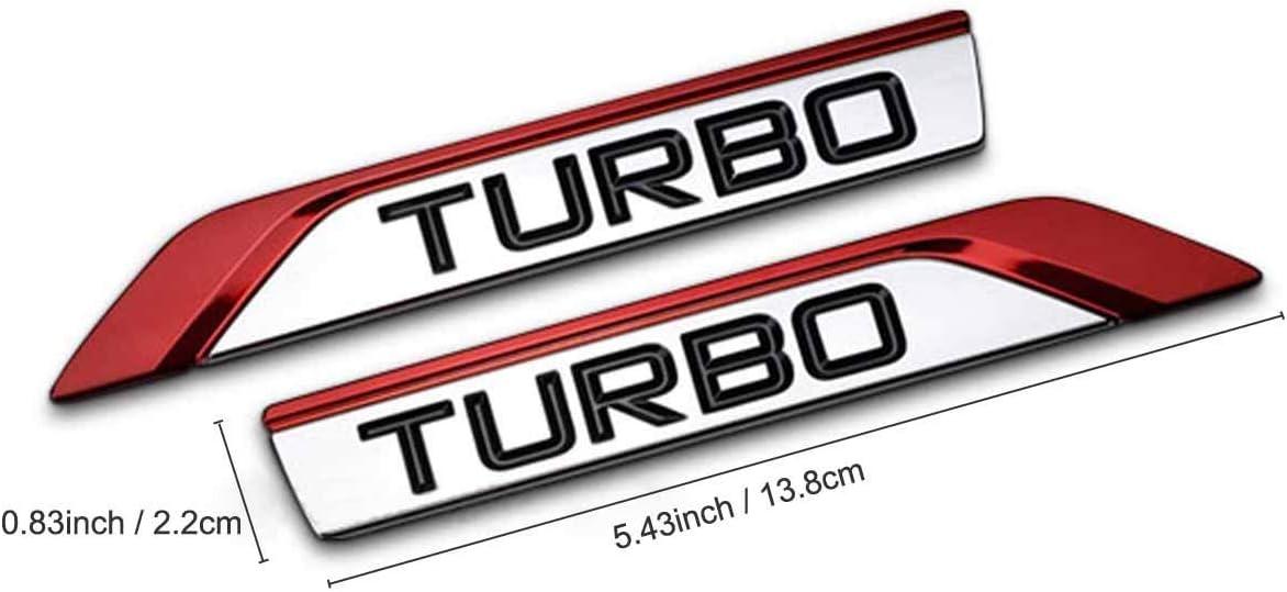 2Pcs//Pair 3D Metal TURBO Car Side Fender Rear Trunk Emblem Badge Sticker Decals for JEEP Dodge Mercedes BMW Mustang Volvo Chevrolet Nissan Audi VW Ford Honda Toyota Jaguar