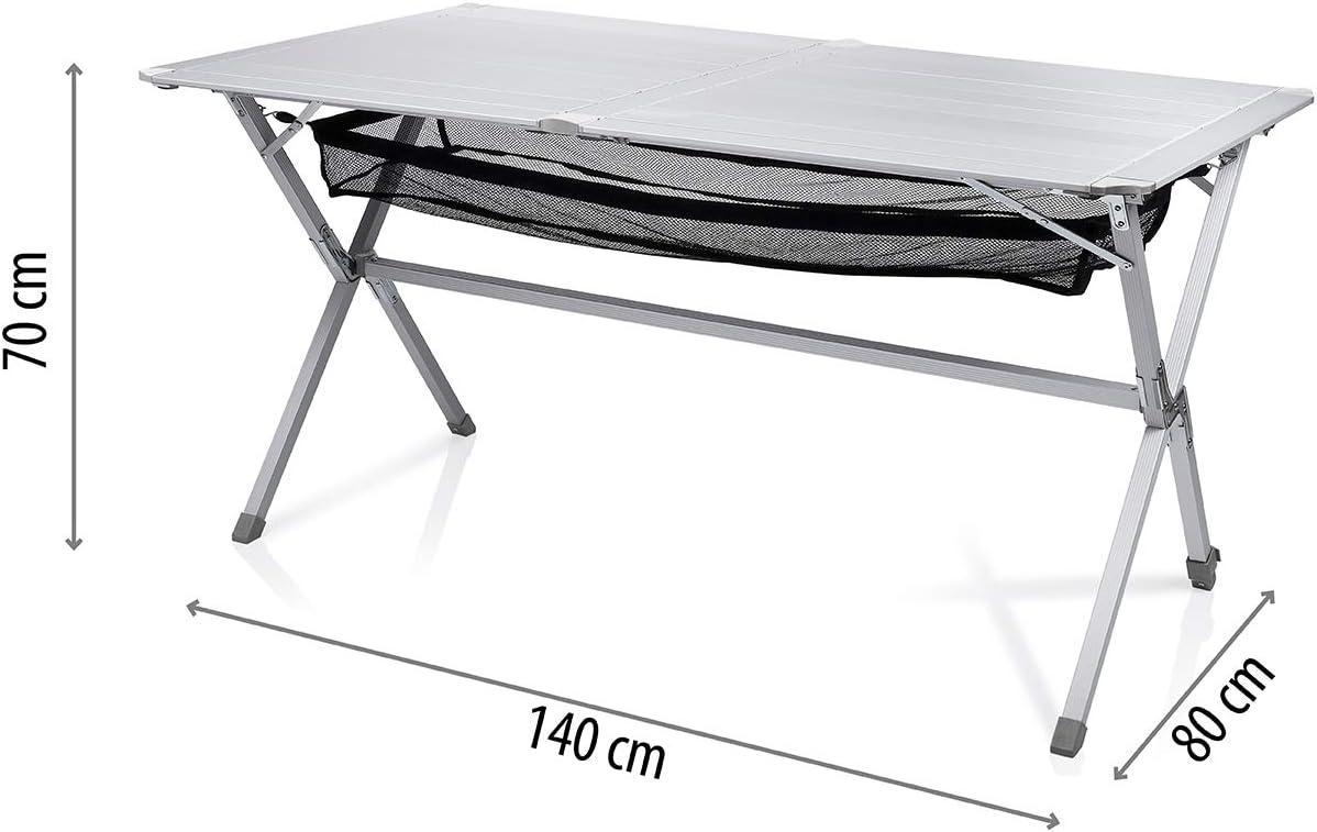 Mesa de camping Campart Travel TA-0806 – 140 x 80 cm – Tablero enrollable – Red de malla