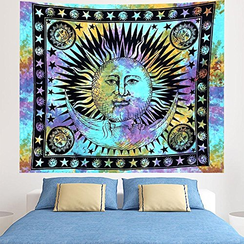 Indian Tie Dye Gypsy Bohemian Psychedelic Hippie Wall Hanging, Celestial Sun Moon Wall Decoration Queen Size Meditation - Shipping Outfitters Urban International