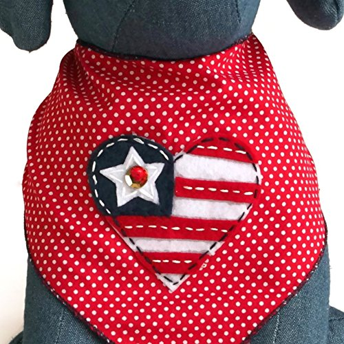 Tail Trends Heart Shaped American Flag Dog Bandana for Dogs (Medium) - Large Pet Bandana