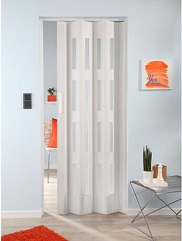 Forte de plástico Puerta plegable Luciana, roble blanco, con 4 ventanas en estructura estriada 88 cm, roble blanco: Amazon.es: Bricolaje y herramientas