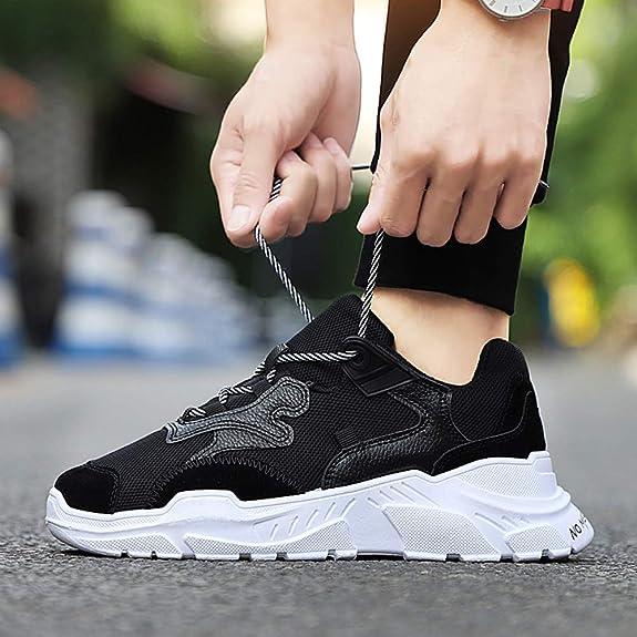 Hombres Inferior Gruesa Malla Zapatillas de Deporte de la Plataforma de Gimnasio Formadores resbal/ón en los Zapatos Transpirables Deportivas con Cordones de los Zapatos Corrientes