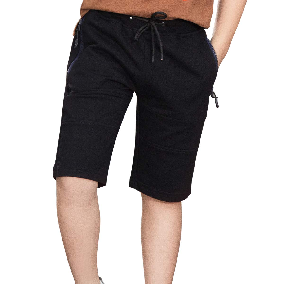 LAPLBEKE Bambino Pantaloncini Bambini Vita Elastica Sport Pantaloni della Tuta Corti Lunghezza Ginocchio Cotone Abbigliamento Estivo Ragazzo