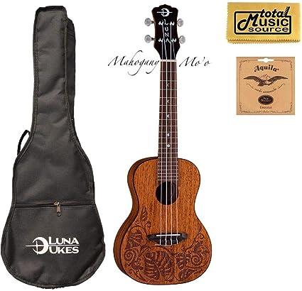 Luna UKE MO MAH Lizard Mahogany Concert Size Acoustic Ukulele with Gig Bag